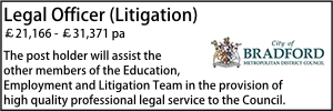 Bradford Sept 20 Legal Officer Litigation