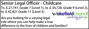Wakefield Nov 20 Legal Officer Childcare