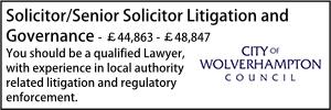 Wolverhampton Oct 21 senior solicitor litigation