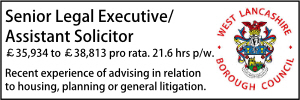 West Lancs Senior Asst Lawyer