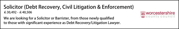 Worcestershire April 21 Solicitor Debt Recovery