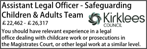 Kirklees Aug 20 Assistant Legal Officer