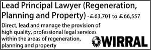 Wirral Nov 20 Lead Principal Lawyer Regen